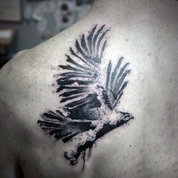 Cool Watercolor Tattoo On Back For Men