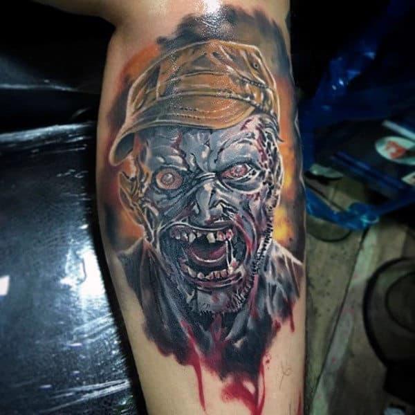 Cool Watercolor Zombie Leg Calf Tattoo For Men