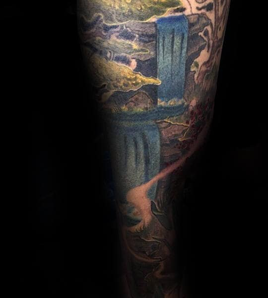 Cool Waterfall Tattoos For Men Forearm Sleeves