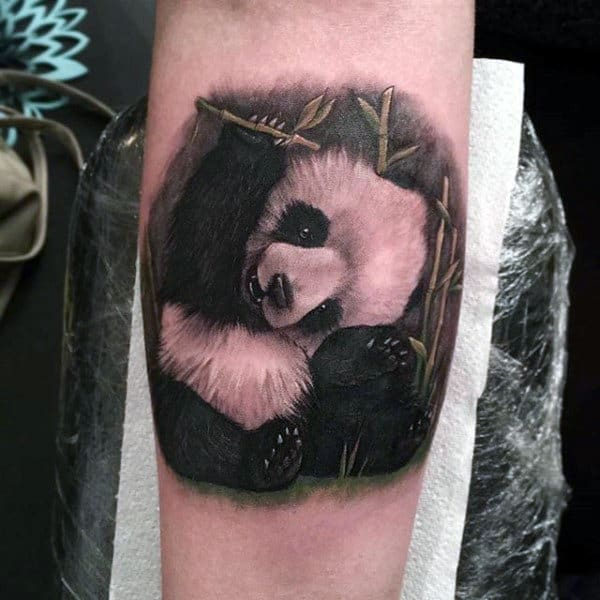 Cool White And Black Ink Inner Forearm Panda Bear Tattoos For Guys