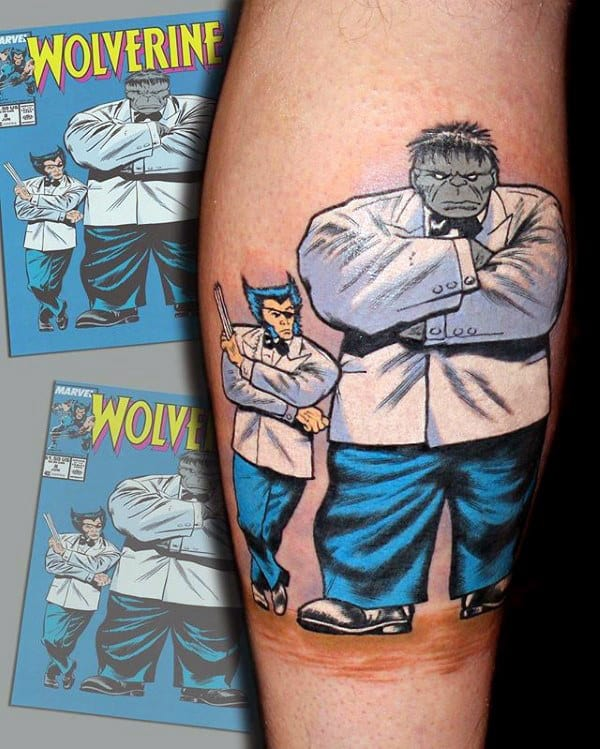 Cool White And Blue Ink Mens Wolverine Comic Tattoo On Guys Leg