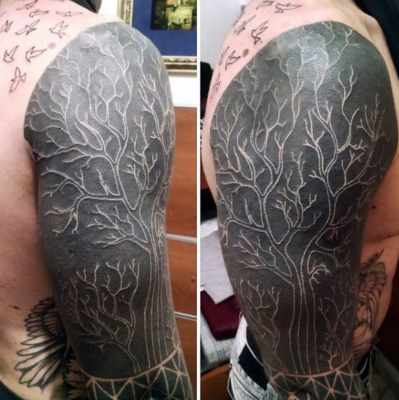 Cool White Ink Over Black Tree Branches Mens Sleeve Tattoo
