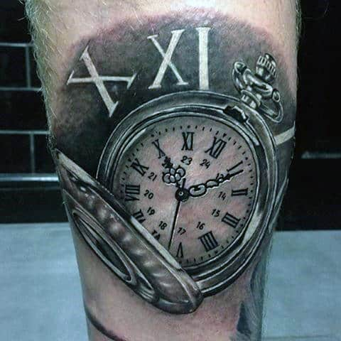 Cool White Ink Roman Numerals With Metallic Pocket Watch Mens Tattoos