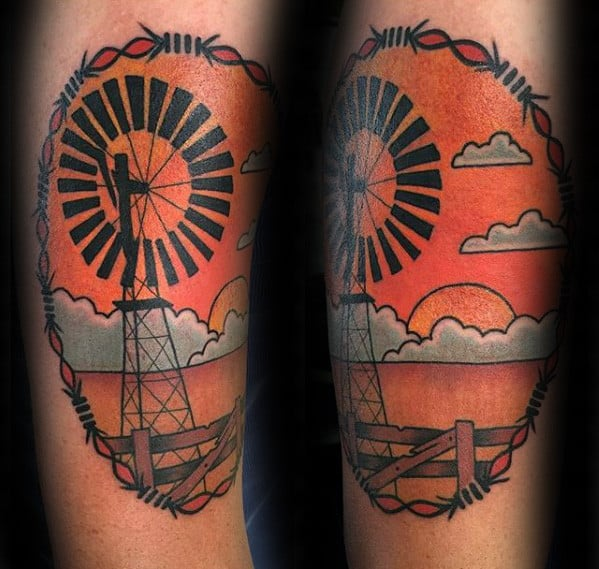Cool Windmill Barb Wire With Sunset Mens Forearm Tattoo