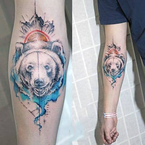 Cool Wolf Head Watercolor Tattoo On Forearms For Guys
