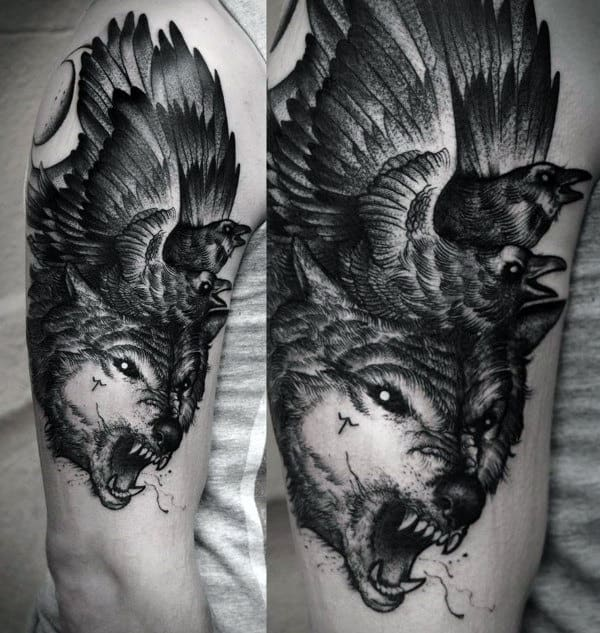 70 wolf tattoo designs for men masculine idea inspiration for Minimal art betekenis