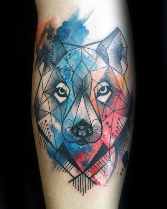 Cool Wolf Watercolor Leg Calf Tattoo Design Ideas For Male