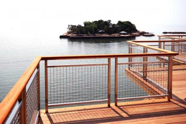 Cool Wood Deck Railing With Mesh Wire Panels