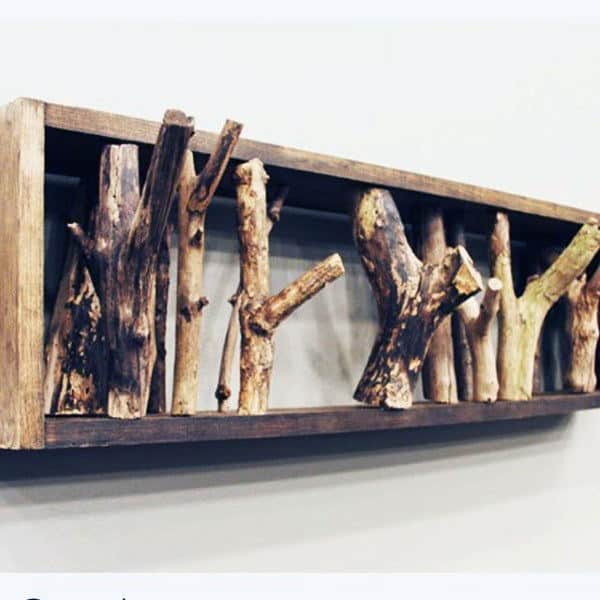 Cool Wood Framed Branches Man Cave Decor Wall Art Ideas