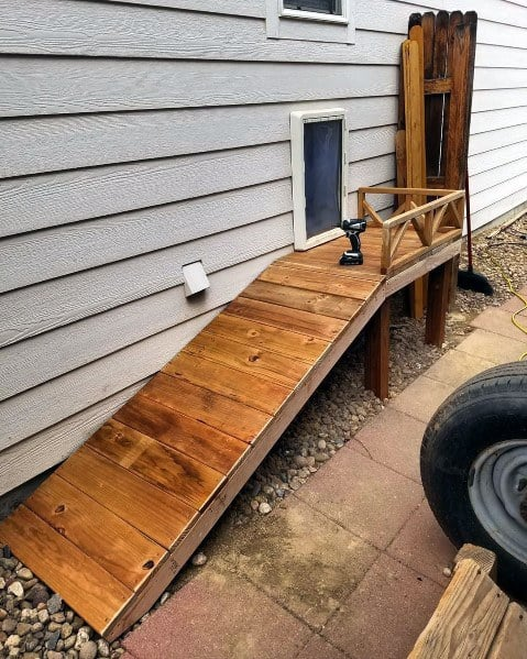 Cool Wooden Ramp Doggy Doors Home Ideas