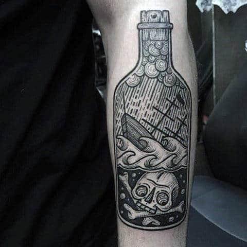 Cool Woodskull Nautical Ship In A Bottle With Skull Tattoo For Men On Inner Forearm