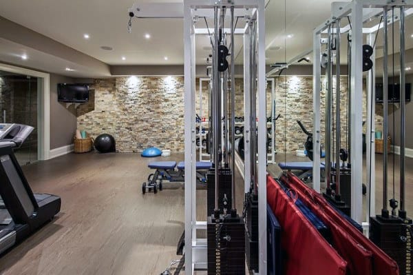 cool workout fitness home gym designs in basement of home. beautiful ideas. Home Design Ideas