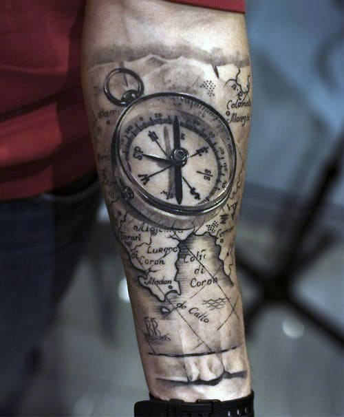 Cool World Map And Compass Guys Forearm Sleeve Black Ink Shaded Tattoos
