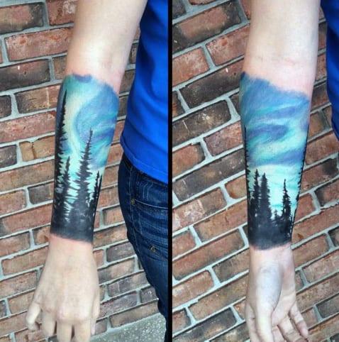 Cool Wrist Forearm Sleeve Guys Northern Lights Tattoo