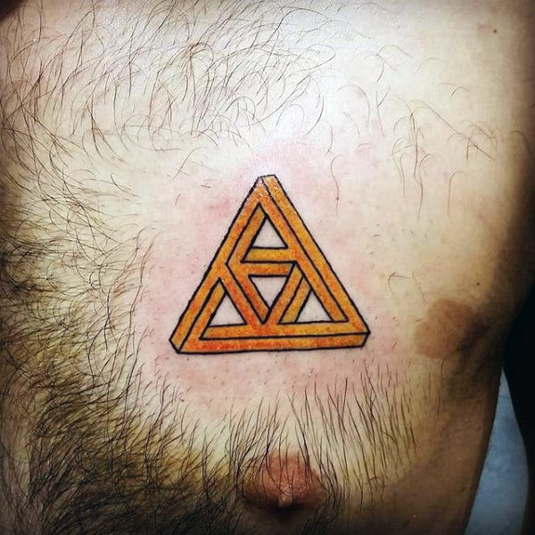 Cool Zelda Triforce Abstract Chest Tattoo On Male