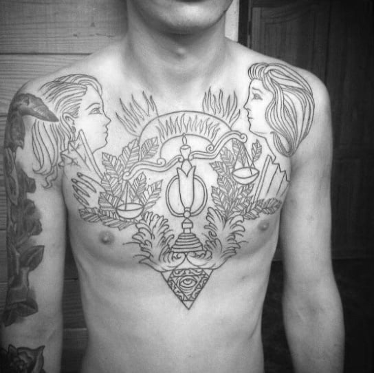 Cool Zodiac Libra Mens Chest Tattoos With Black Ink Outline Design