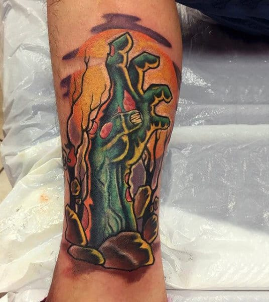Cool Zombie Hand Poking Out From Ground Mens Leg Calf Tattoo