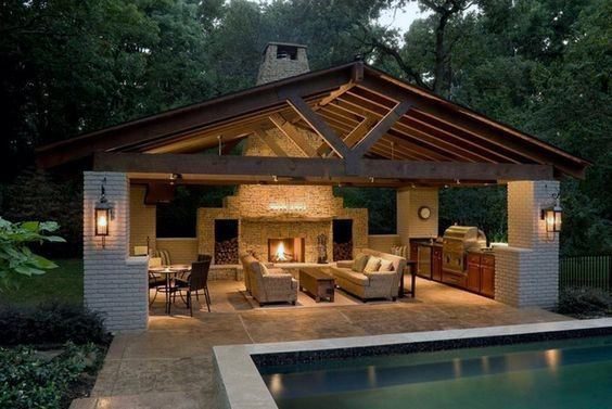 Top 50 best backyard pavilion ideas covered outdoor - How to design outdoor lighting plan ...