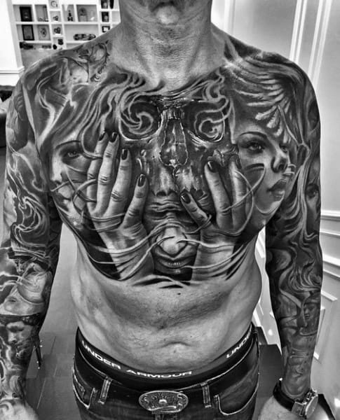 Coolest Chicano Mens Chest Tattoo Designs