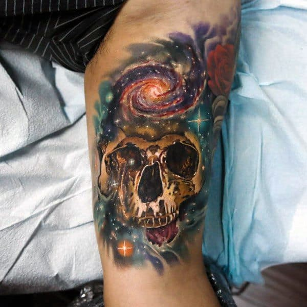 Coolest Outer Space Gold Skull Mens Arm Tattoo Designs