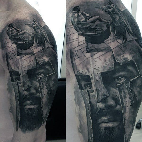 Coolest Spartan Realitsic 3d Male Arm Tattoos