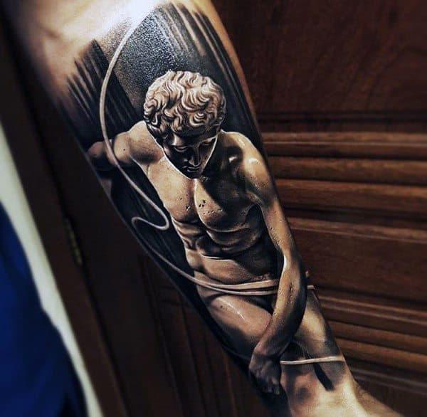 Coolest Stone Greek God Statue Male Forearm Tattoo Ideas