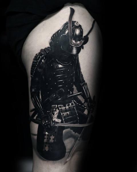 Coolest Tattoos For Men Thigh 3d Samuari Warrior Design Ideas