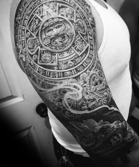 Coolest Tattoos For Men With Aztec 3d Design Sleeve