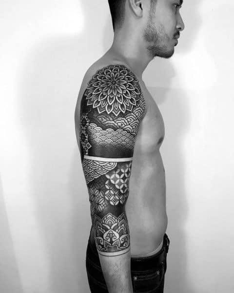 Coolest Tattoos Geometric Flower Male Sleeve