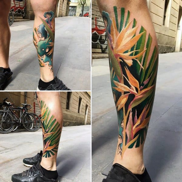 Coolest Tattoos Male Plant Themed Design On Legs