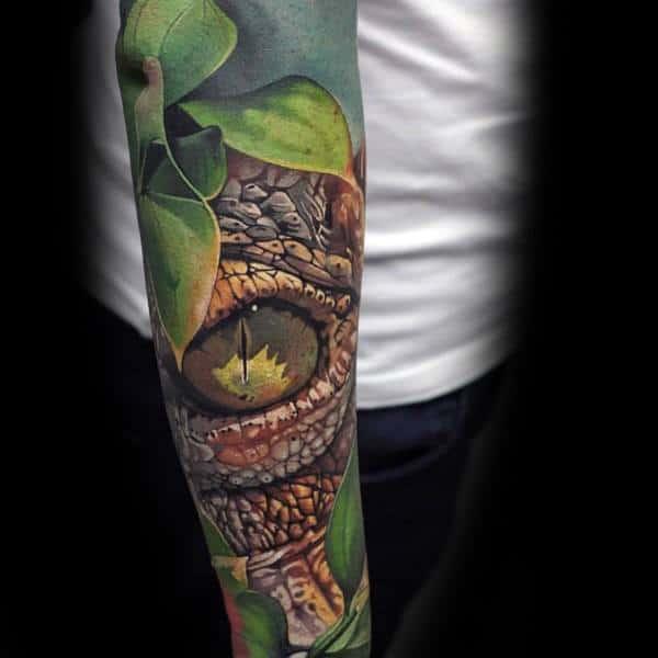 Coolest Tattoos Snake Eye Mens Full Arm Sleeve Ideas