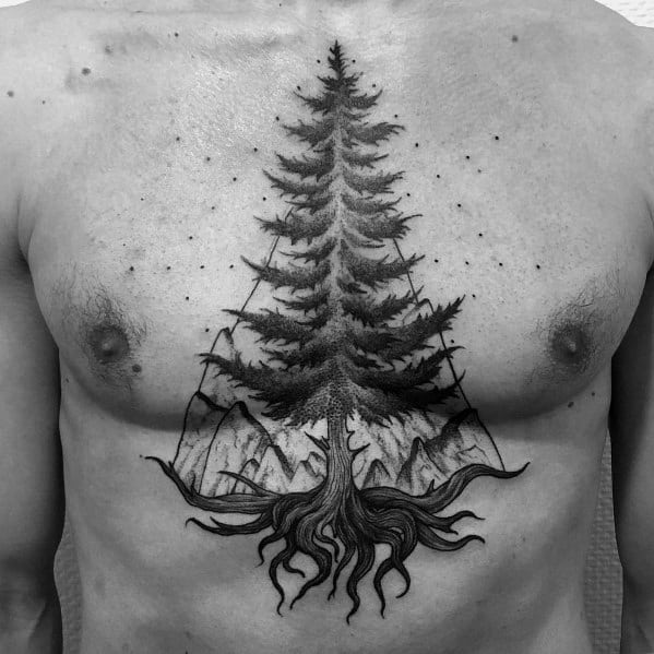 Coolest Tree Tattoos For Men On Chest