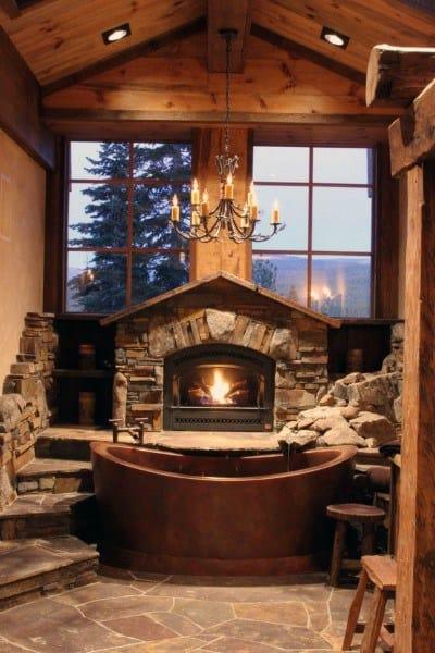 Copper Bathtub With Fireplace Rustic Bathroom Ideas