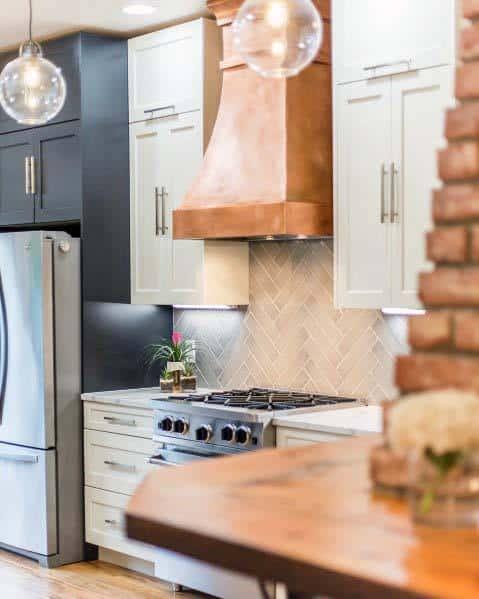 Copper Metal Kitchen Hood Cool Interior Ideas
