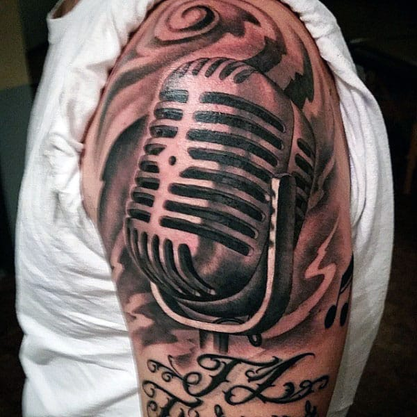Coppery Metallic Microphone Tattoo Mens Upper Arms