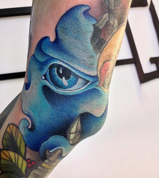 Coral Blue Eye Tattoo Mens Elbows