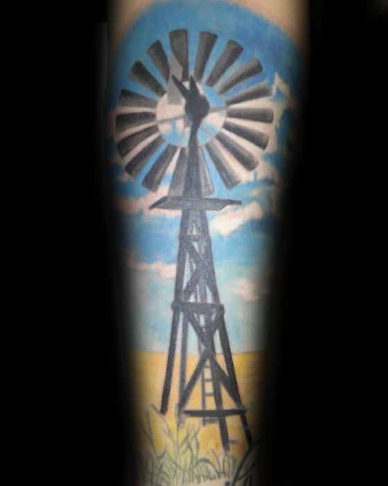 Corn Field With Windmill And Blue Sky Mens Forearm Sleeve Tattoo