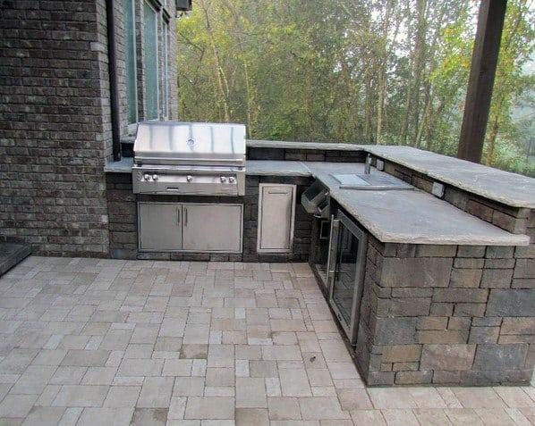 Corner Built In Grill Backyard Design