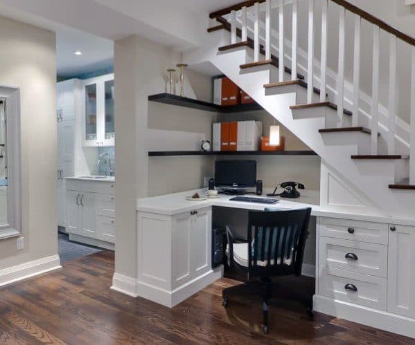 Corner Desk Impressive Under Stairs Ideas