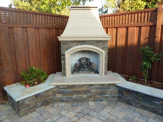 corner fireplace in house backyard