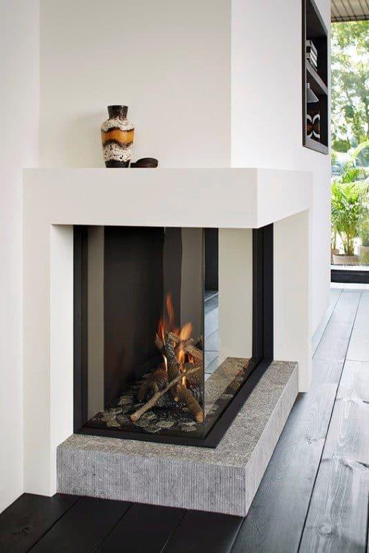 Corner Glass Gas Fireplace Design Inspiration