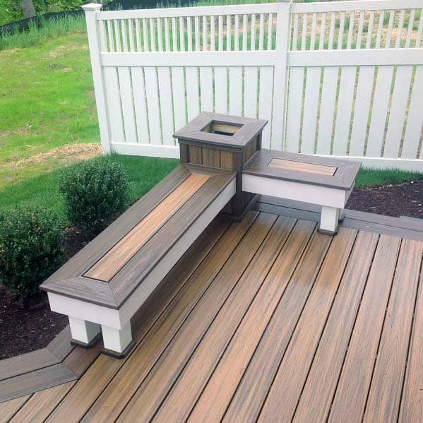 Corner Ideas For Deck Bench With Single Planter In Middle