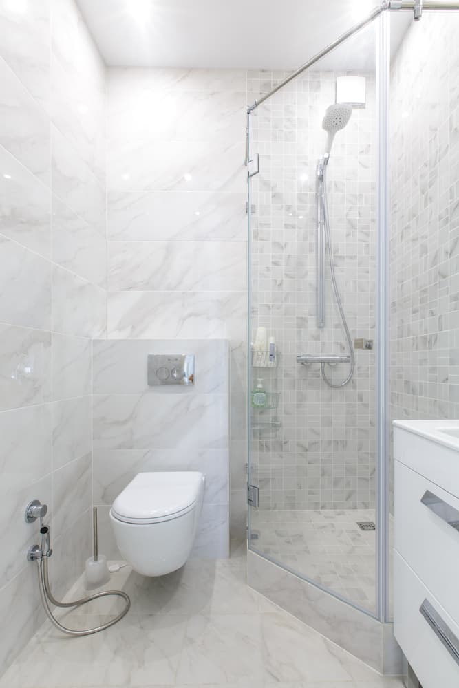 white basement bathroom