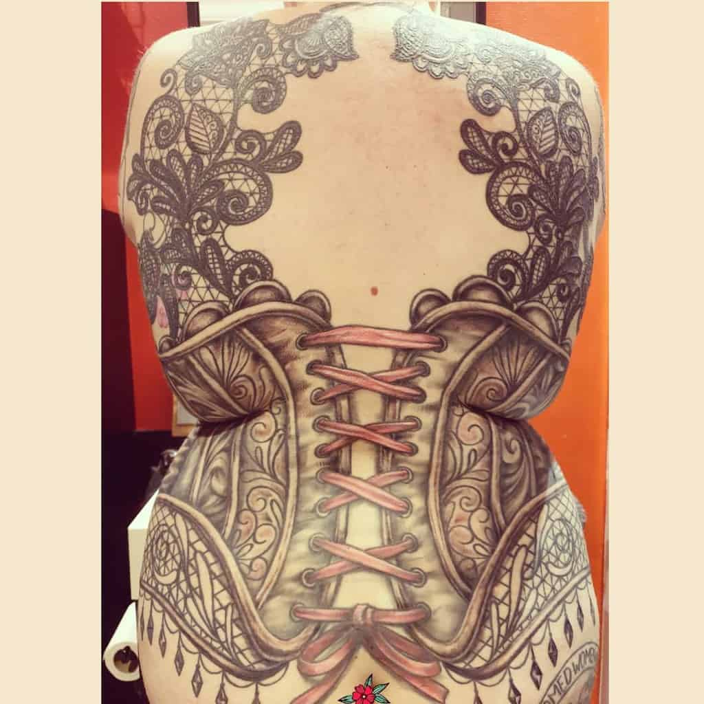 Corset Lace Full Back Tattoo