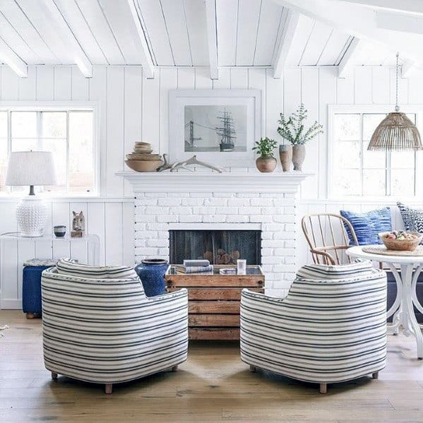 Country White Home Ideas Painted Fireplace