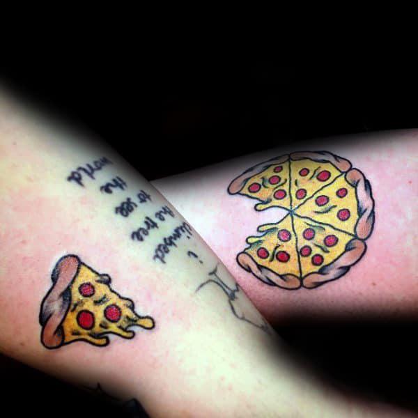 Pareja Tatuaje Coincidencia Rebanada De Pizza