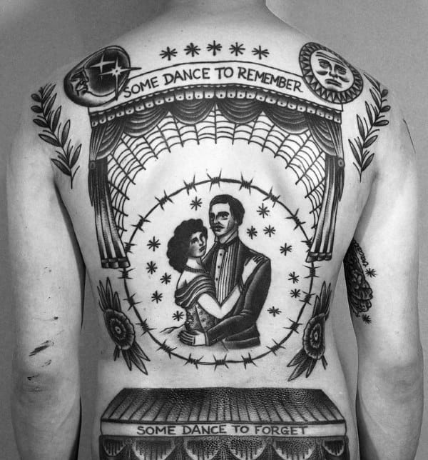 Couple On Stage Traditional Guys Back Tattoo