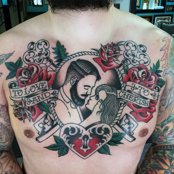 Couple Traditional Old School Guys Chest Tattoo