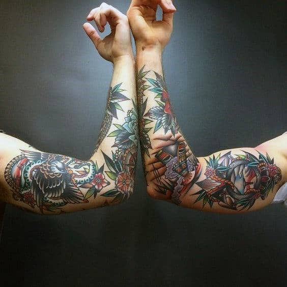 Couple Traditional Sleeve Tattoos For Men