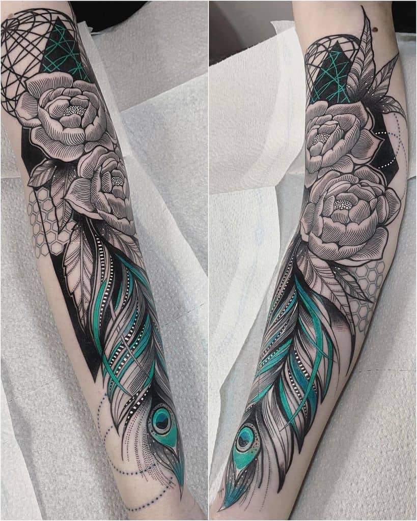 Cove Up Peony Peacock Feather Tattoo